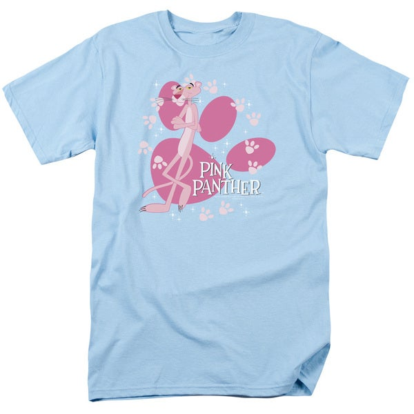 MGM/Pink Panther/Walk All Over Short Sleeve Adult T-Shirt 18/1 in Light Blue