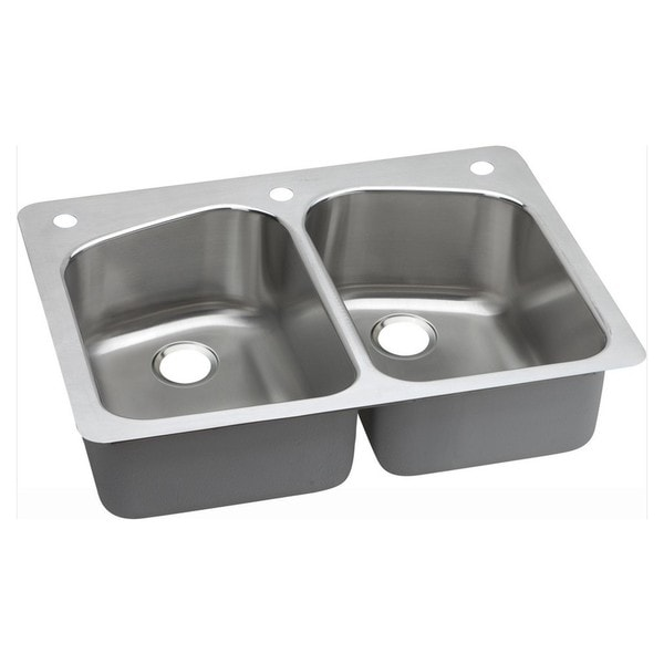 Elkay 18-gauge Stainless Steel 33-inch x 22-inch x 8-inch Double-bowl Dual/Universal-mount Kitchen Sink