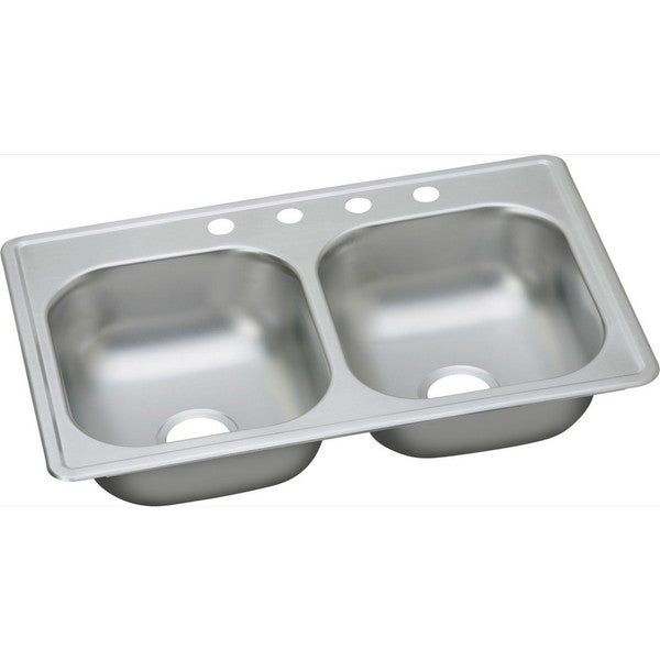 Elkay 20-gauge Stainless Steel 33-inch x 19-inch x 8-inch Double Bowl Top Mount Kitchen Sink