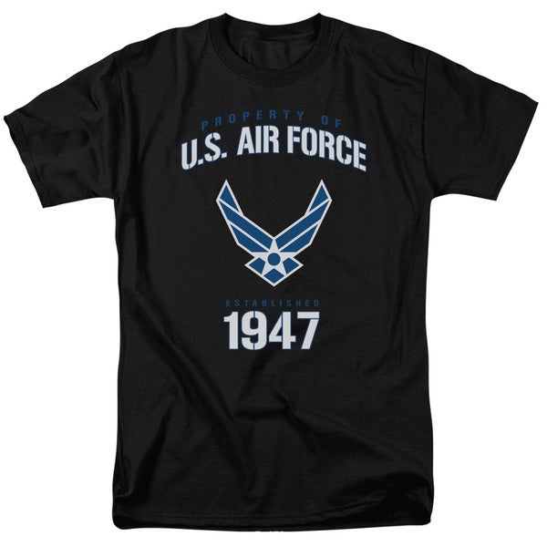 Air Force/Property Of Short Sleeve Adult T-Shirt 18/1 in Black
