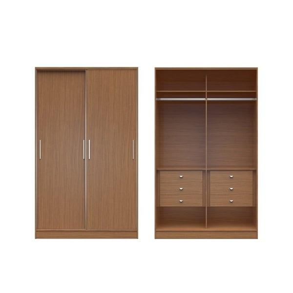 Manhattan Comfort Chelsea Brown MDF Sliding-door 6-drawer Wardrobe 20703549