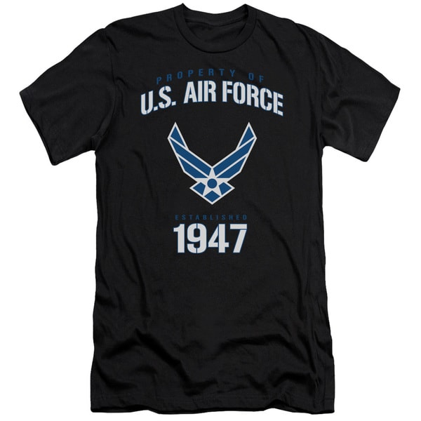 Air Force/Property Of Short Sleeve Adult T-Shirt 30/1 in Black