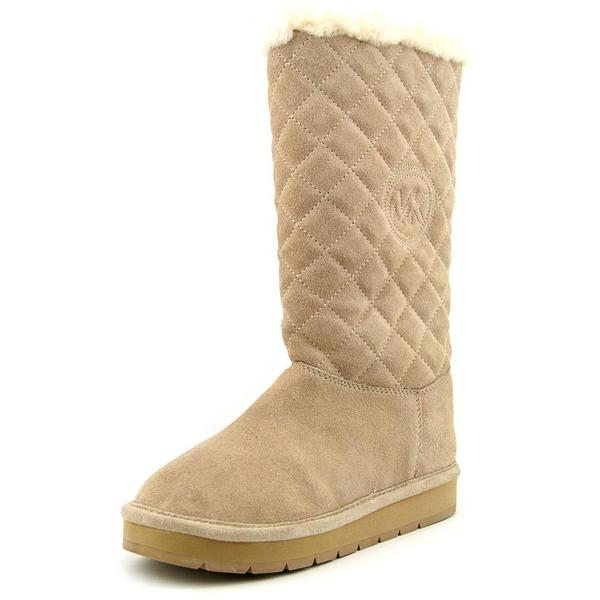 Michael Kors Women's Sandy Quilted Boot Tan Regular Suede Boots