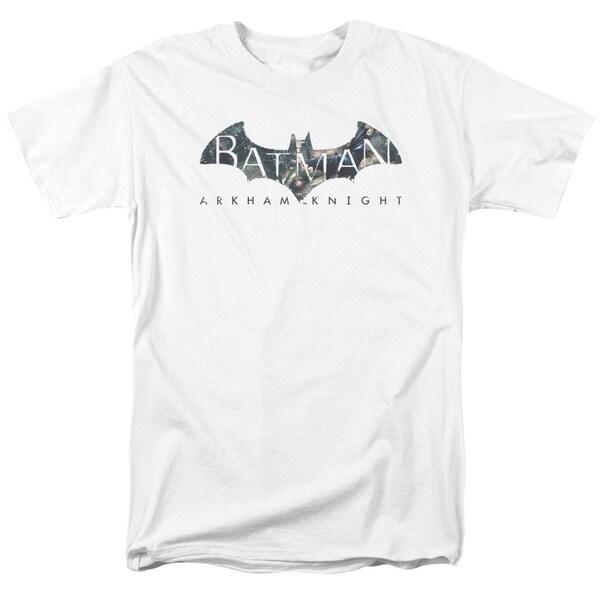 Baman Arkham Knight/Descending Logo Short Sleeve Adult T-Shirt 18/1 in White