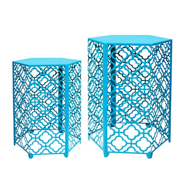 Jeco Turquoise Cast Iron Hexagon Side Tables (Set of 2)
