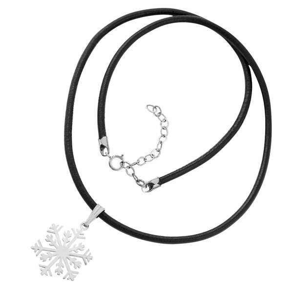Sterling Silver Snowflake Pendant on Leather Cord