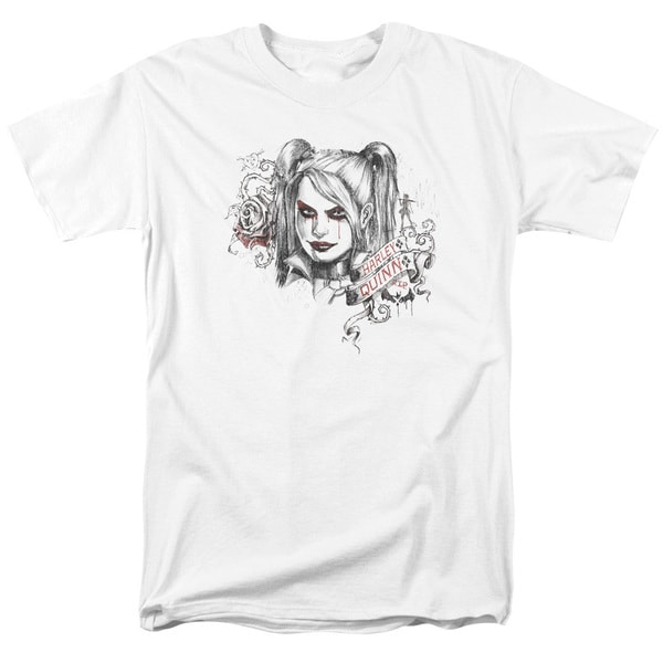 Batman Arkham Knight/Sketchy Girl Short Sleeve Adult T-Shirt 18/1 in White