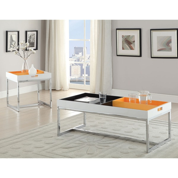 Maisie White/Black/Orange/Chrome Coffee/End Table