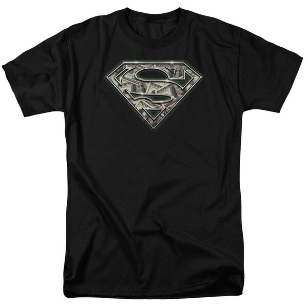 Superman/All About The Benjamins Short Sleeve Adult T-Shirt 18/1 in Black