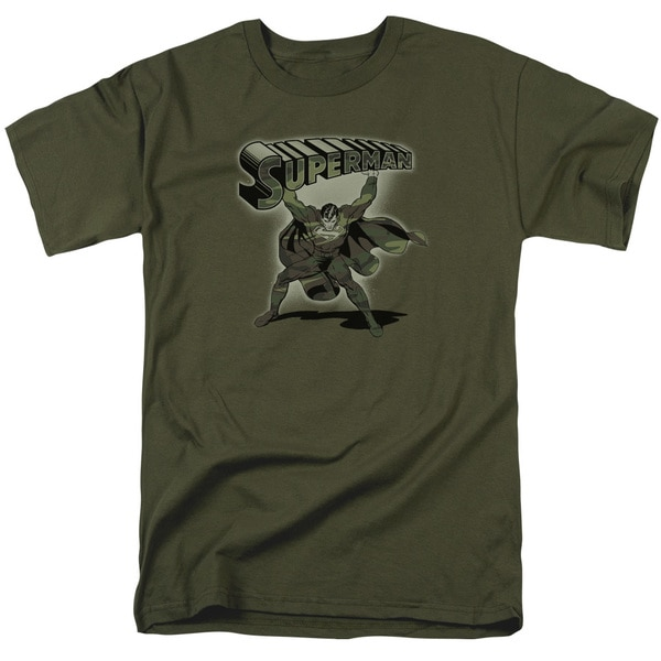 Superman/Camo Logo Short Sleeve Adult T-Shirt 18/1 in Military Green
