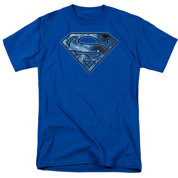Superman/On Ice Shield Short Sleeve Adult T-Shirt 18/1 in Royal