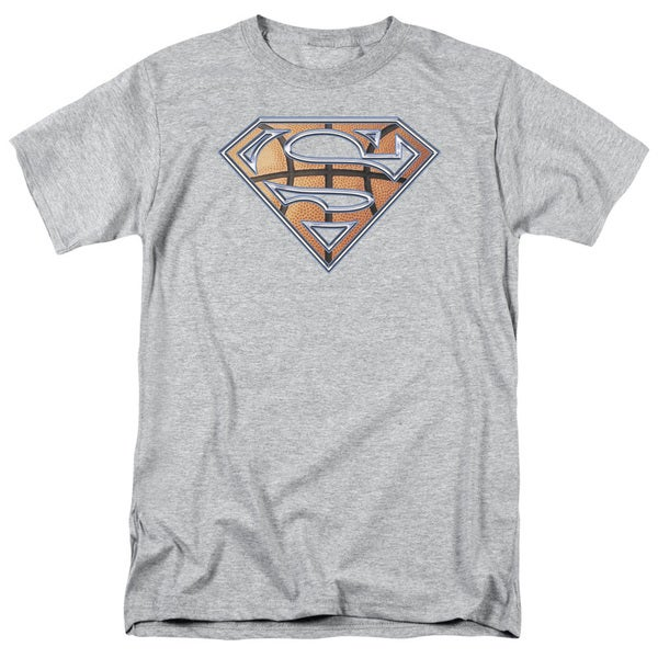 Superman/Basketball Shield Short Sleeve Adult T-Shirt 18/1 in Heather