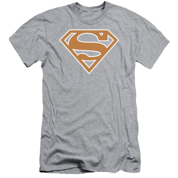 Superman/Burnt Orange&White Shield Short Sleeve Adult T-Shirt 30/1 in Athletic Heather