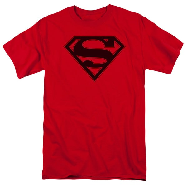 Superman/Red & Black Shield Short Sleeve Adult T-Shirt 18/1 in Red