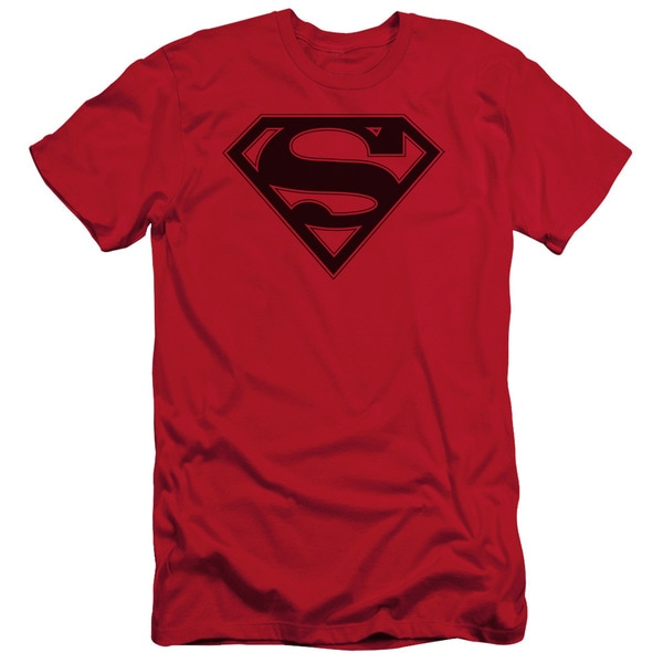 Superman/Red & Black Shield Short Sleeve Adult T-Shirt 30/1 in Red