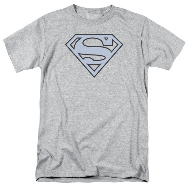 Superman/Carolina Blue&Navy Shield Short Sleeve Adult T-Shirt 18/1 in Heather