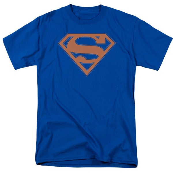 Superman/Blue & Orange Shield Short Sleeve Adult T-Shirt 18/1 in Royal