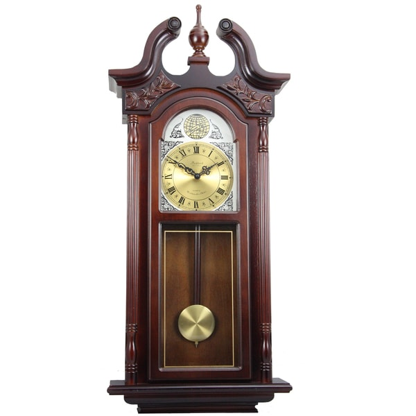 Bedford Clock Collection Cherry Oak Finish 38-inch Grand Antique Chiming Wall Clock with Roman Numerals