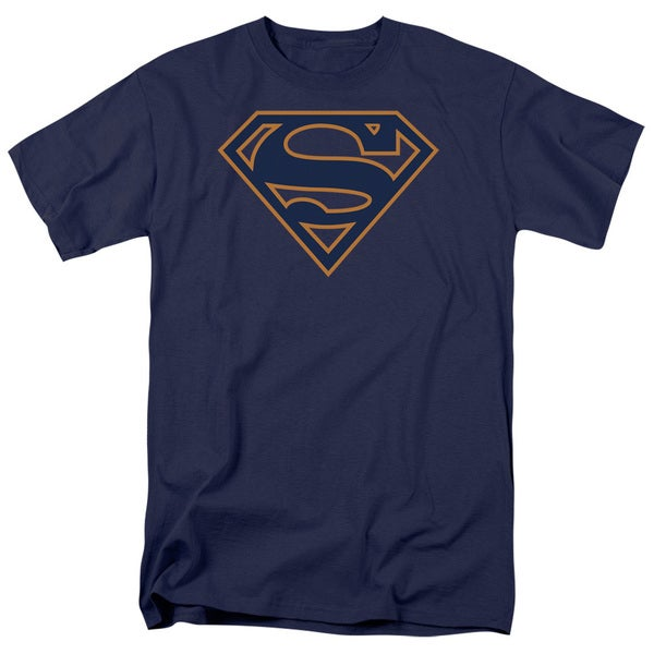 Superman/Navy & Orange Shield Short Sleeve Adult T-Shirt 18/1 in Navy