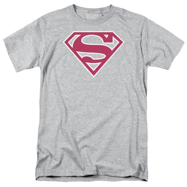 Superman/Red & White Shield Short Sleeve Adult T-Shirt 18/1 in Heather