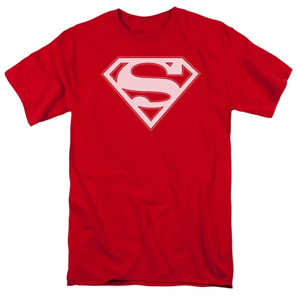 Superman/Red & White Shield Short Sleeve Adult T-Shirt 18/1 in Red