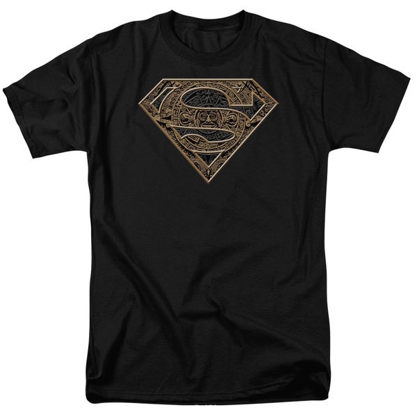 Superman/Aztec Shield Short Sleeve Adult T-Shirt 18/1 in Black