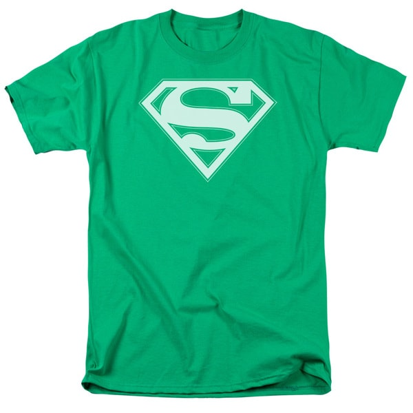 Superman/Green & White Shield Short Sleeve Adult T-Shirt 18/1 in Kelly Green