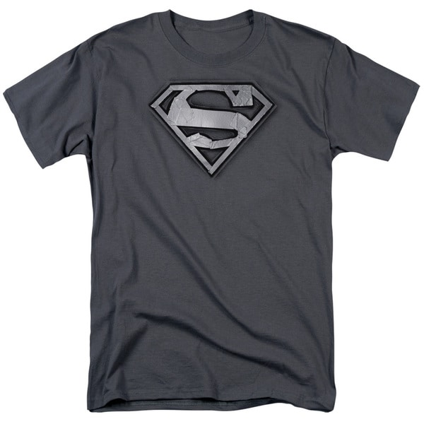 Superman/Duct Tape Shield Short Sleeve Adult T-Shirt 18/1 in Charcoal