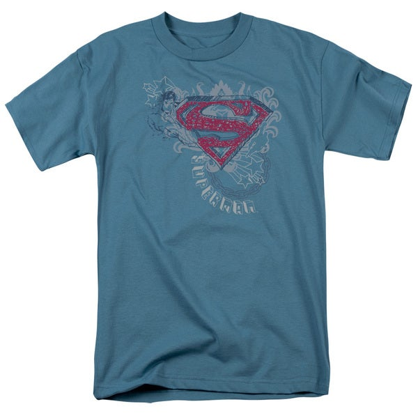 Superman/Star and Chains Short Sleeve Adult T-Shirt 18/1 in Slate