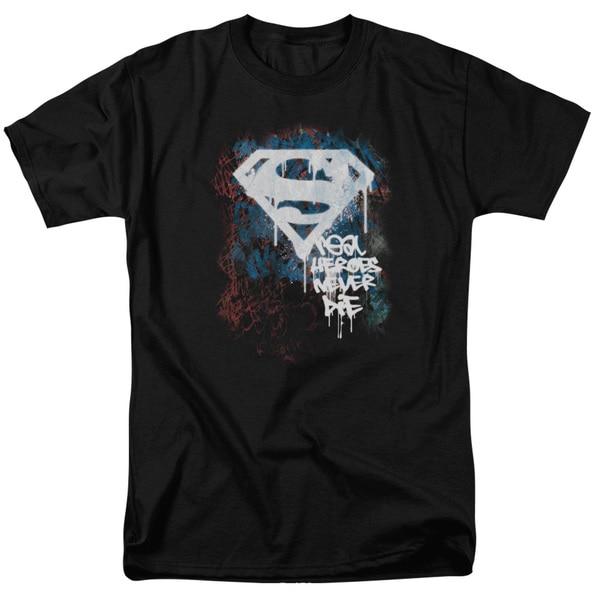 Superman/Real Heroes Never Die Short Sleeve Adult T-Shirt 18/1 in Black