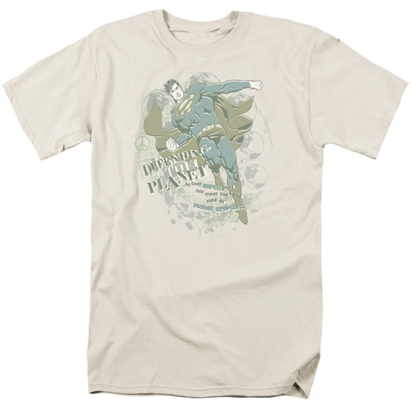 Superman/Defending The Planet Short Sleeve Adult T-Shirt 18/1 in Cream