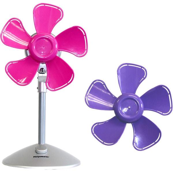 Keystone Purple/Pink 10-inch 2-speed Flower Fan with Interchangable Heads