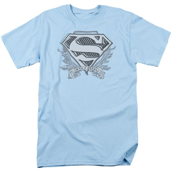 Superman/Sketchy Crest Shield Short Sleeve Adult T-Shirt 18/1 in Light Blue