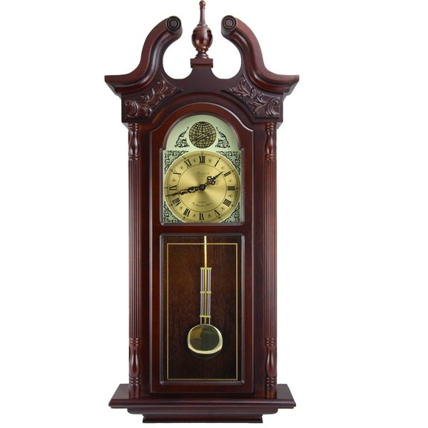 Bedford Clock Collection Cherry Oak 38-inch Chiming Wall Clock