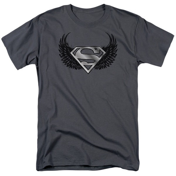 Superman/Dirty Wings Short Sleeve Adult T-Shirt 18/1 in Charcoal