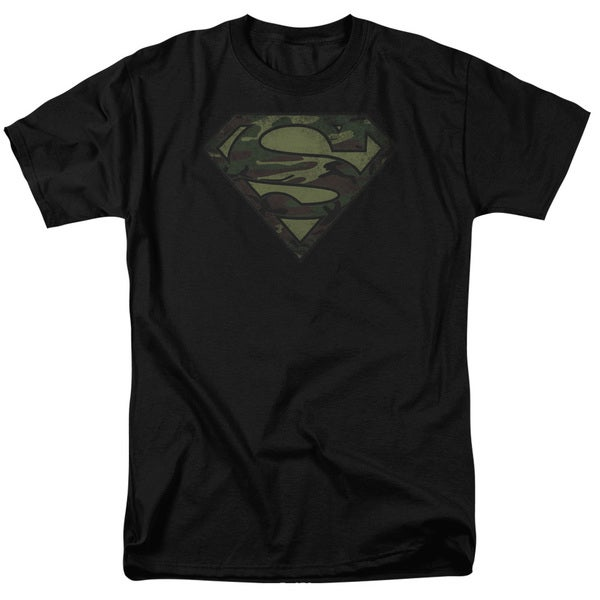 Superman/Camo Logo Distressed Short Sleeve Adult T-Shirt 18/1 in Black