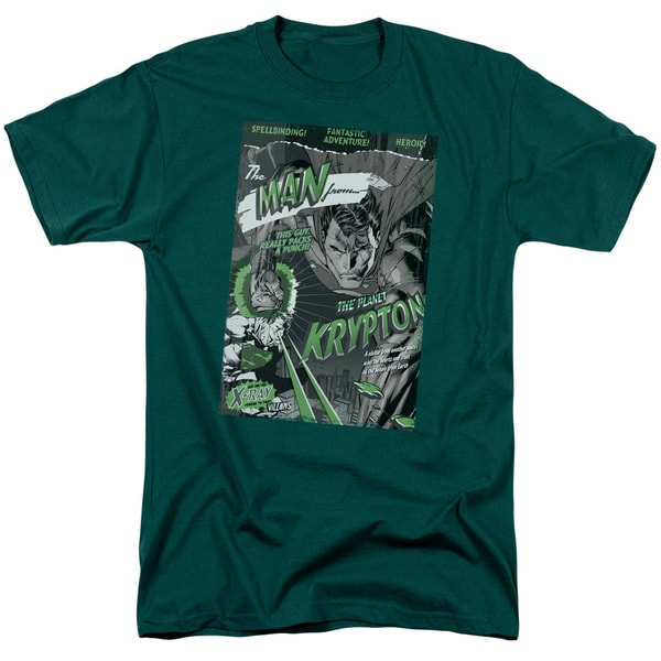 Superman/The Man From Krypton Short Sleeve Adult T-Shirt 18/1 in Hunter Green