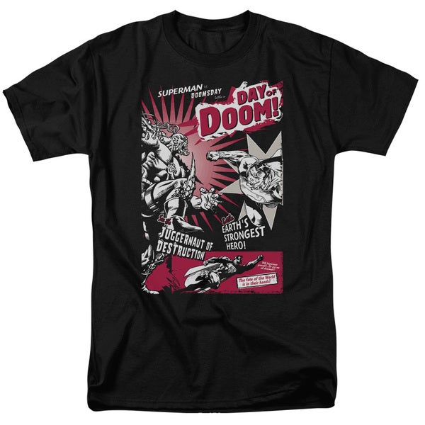 Superman/Day Of Doom Short Sleeve Adult T-Shirt 18/1 in Black
