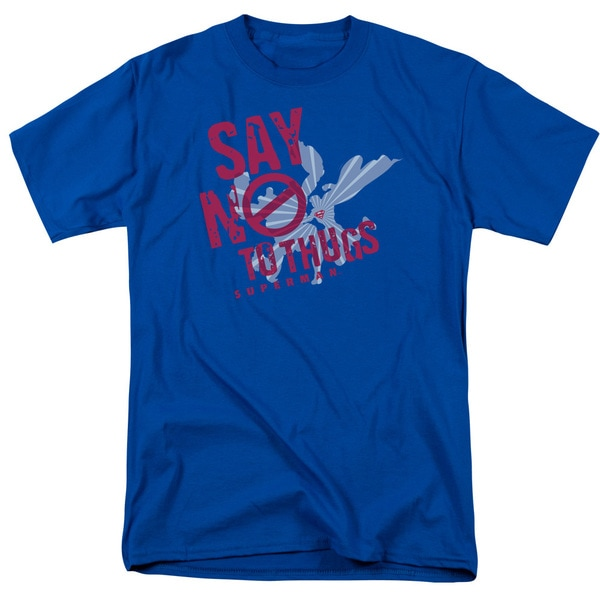 Superman/Say No To Thugs Short Sleeve Adult T-Shirt 18/1 in Royal