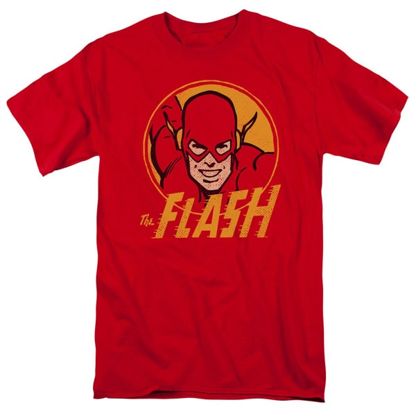 DC/Flash Circle Short Sleeve Adult T-Shirt 18/1 in Red