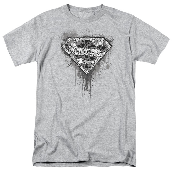 Superman/Many Super Skulls Short Sleeve Adult T-Shirt 18/1 in Heather