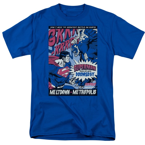 Superman/Meltdown Short Sleeve Adult T-Shirt 18/1 in Royal