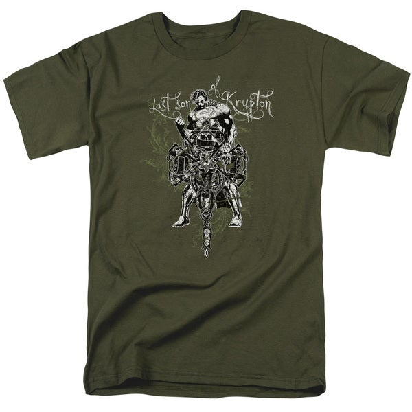 Superman/Last Son Gothic Short Sleeve Adult T-Shirt 18/1 in Military Green