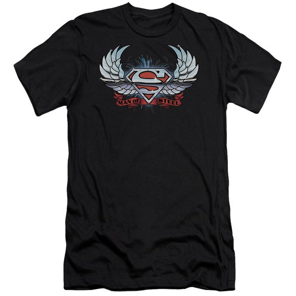 Superman/Chrome Wings Shield Short Sleeve Adult T-Shirt 30/1 in Black