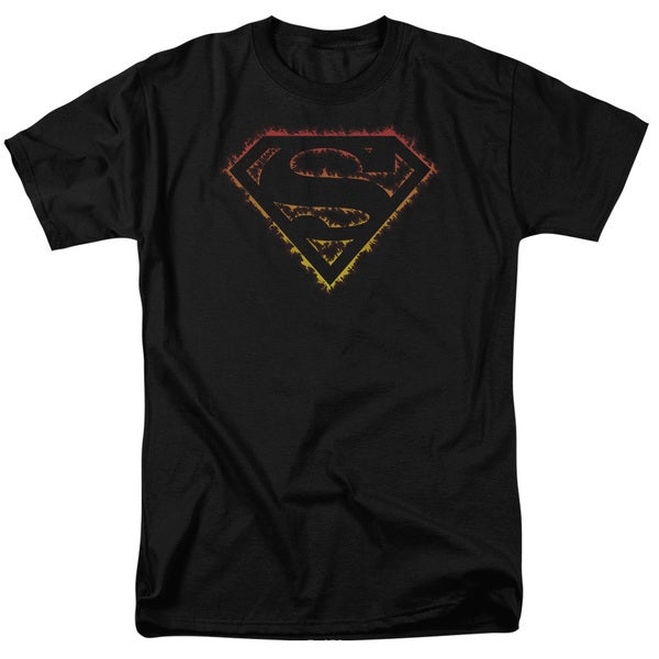 Superman/Flame Outlined Logo Short Sleeve Adult T-Shirt 18/1 in Black