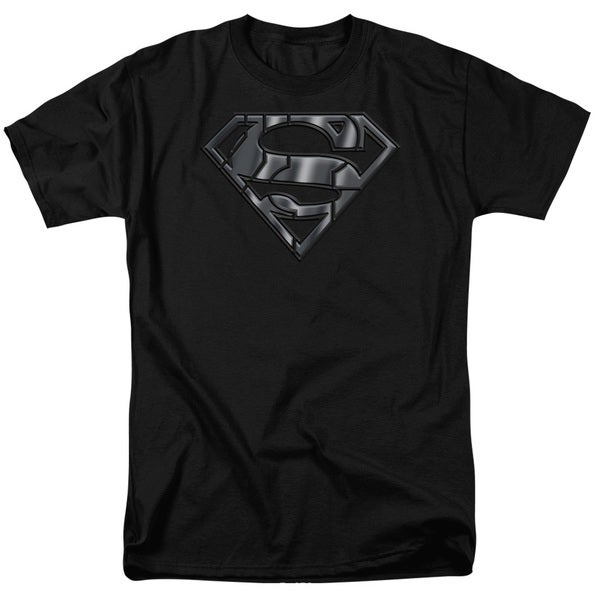 Superman/Mech Shield Short Sleeve Adult T-Shirt 18/1 in Black