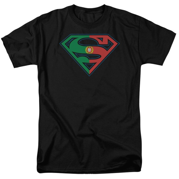 Superman/Portugal Shield Short Sleeve Adult T-Shirt 18/1 in Black