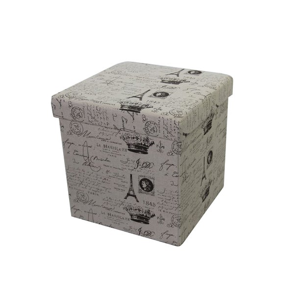 Urban Port Paris Cream MDF Storage Ottoman