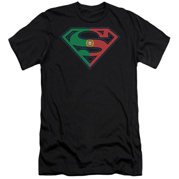 Superman/Portugal Shield Short Sleeve Adult T-Shirt 30/1 in Black