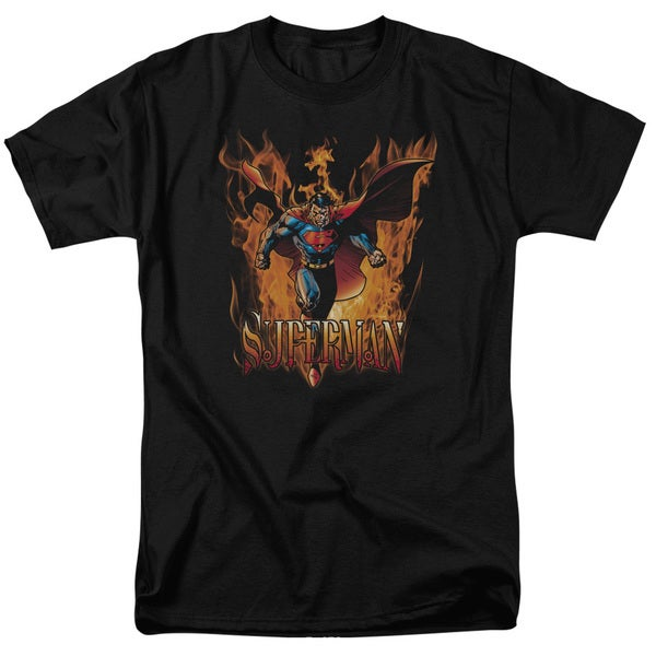 Superman/Through The Fire Short Sleeve Adult T-Shirt 18/1 in Black
